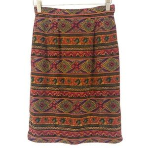 VINTAGE Oscar De La Renta Silk Print Pencil Skirt